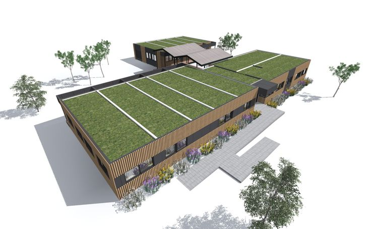 Fit Kidz Kindergarten | sustainable design green Kinder with a fully green roof and passive solar.