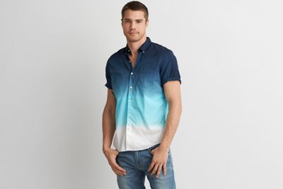 AEO Short Sleeve Dip Dye Shirt by  American Eagle Outfitters | The classic button down shirt, updated in a versatile short sleeve silhouette. Shop the AEO Short Sleeve Dip Dye Shirt and check out more at AE.com.
