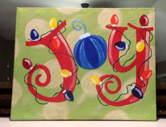 "Christmas painting, canvas/burlap  ""JOY"" 16""x20"" on Etsy, $45.00"