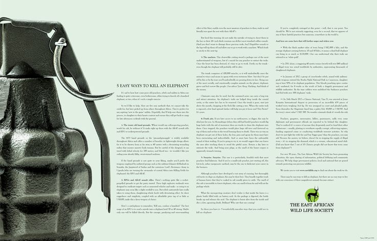 Soms zegt het beeld al genoeg (East African Wildlife Society: Hand Grenade | Ads of the World™ - adsoftheworld.com)