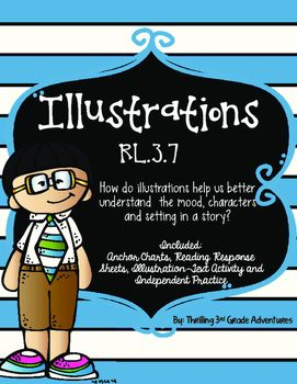 Illustrations help readers understand parts of story in many ways. The activities provided in this pack will help students understand how illustrations in fiction texts add to understanding characters, setting and the mood of the story. Included:Illustration Anchor Chart Mood Anchor Chart Four Reading Response Papers (Text, Characters, Setting, Mood) Flip Book for after reading about how the illustrations help understand the characters, setting, and mood betterIllustration Activity-Winter…