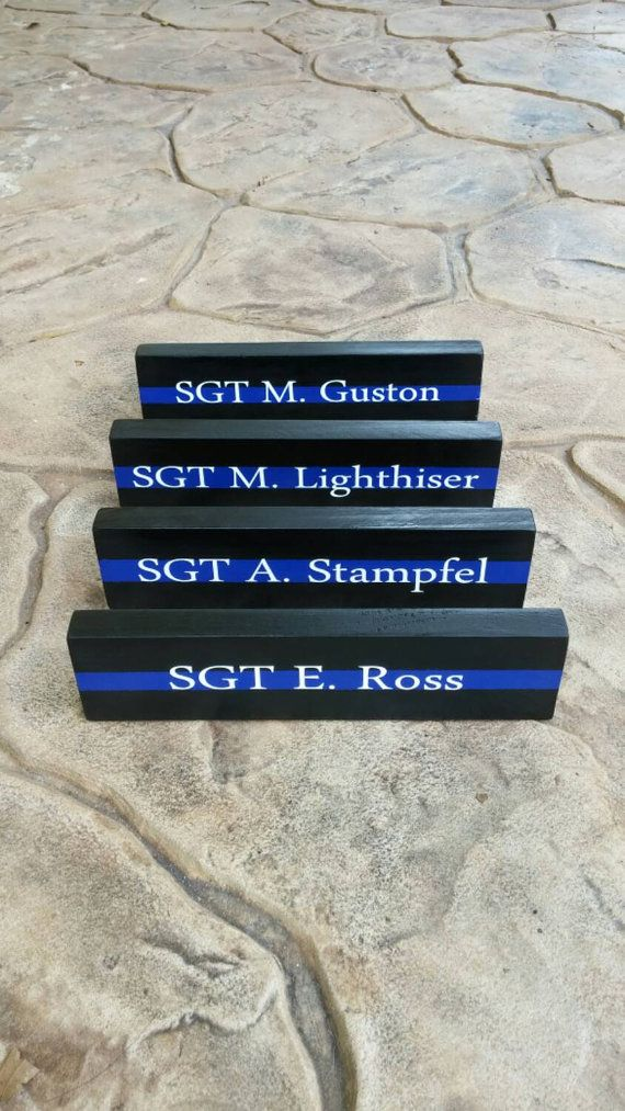 10 Thin Blue Line Desk Plaques Name Plate. Quanity by LEOWONDUTY
