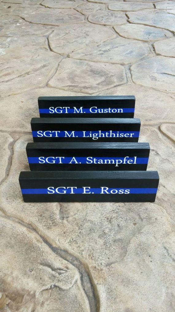 4 Thin Blue Line Desk Plaques Name Plate. Quanity 4 by LEOWONDUTY