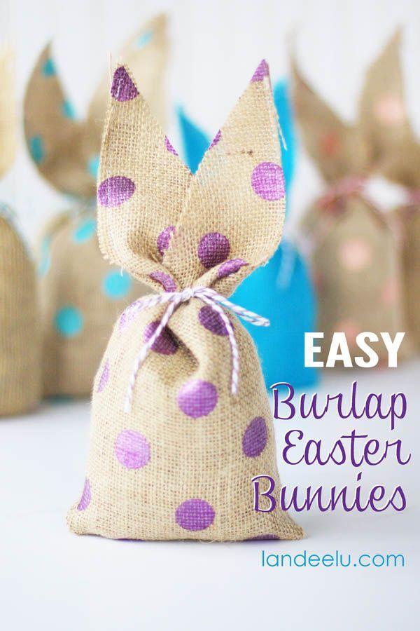 Easter Craft Idea -Burlap Bunnies via landeelu.com   Find craft materials at Joann.com & Jo-Ann Fabric Stores