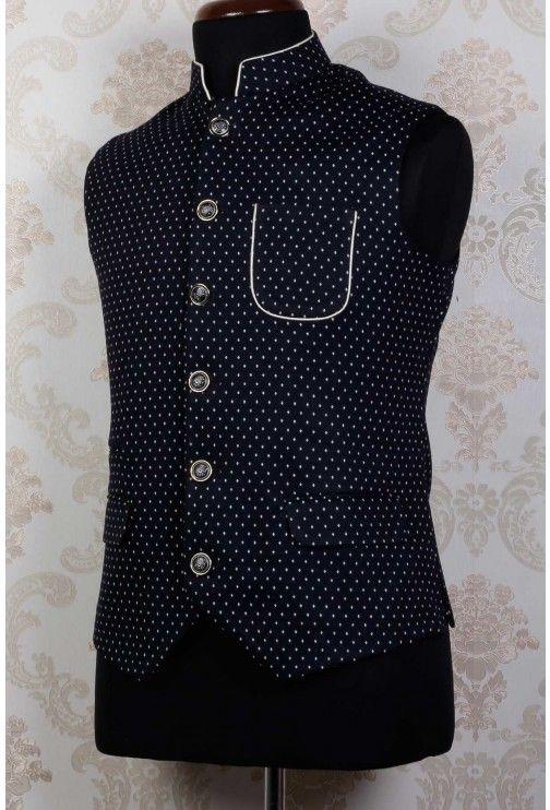 Black & white printed velvet swanky waist coat with standing collar -KR319