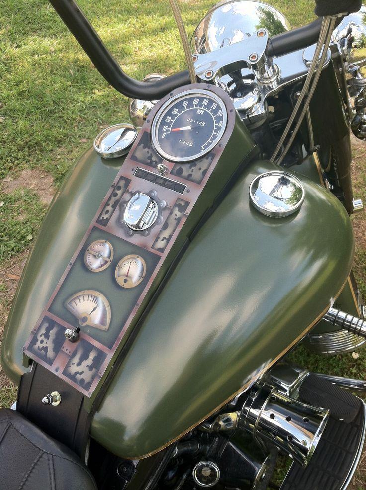 Harley gauge cover, airbrush Motorcycle tank, Bike
