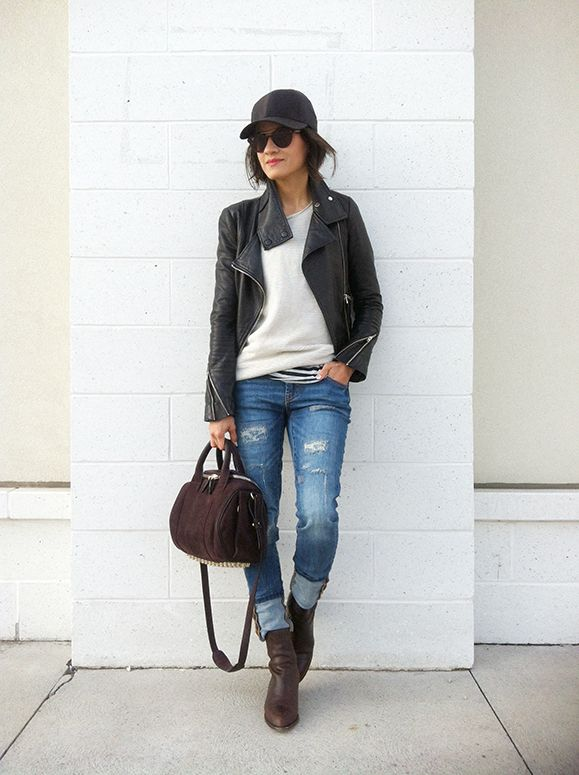 WoahStyle.com | Mackage leather jacket, Aritzia baseball cap and sweater, Alexander Wang Anouck boot & Rockie handbag and Joe Fresh jeans