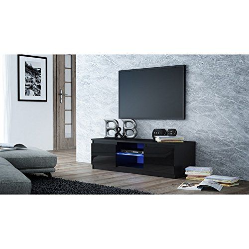 Black Gloss TV Media Unit TV stand.Glass shelf and FREE LED kit.Fits up to 32 to 44 inch LED TV