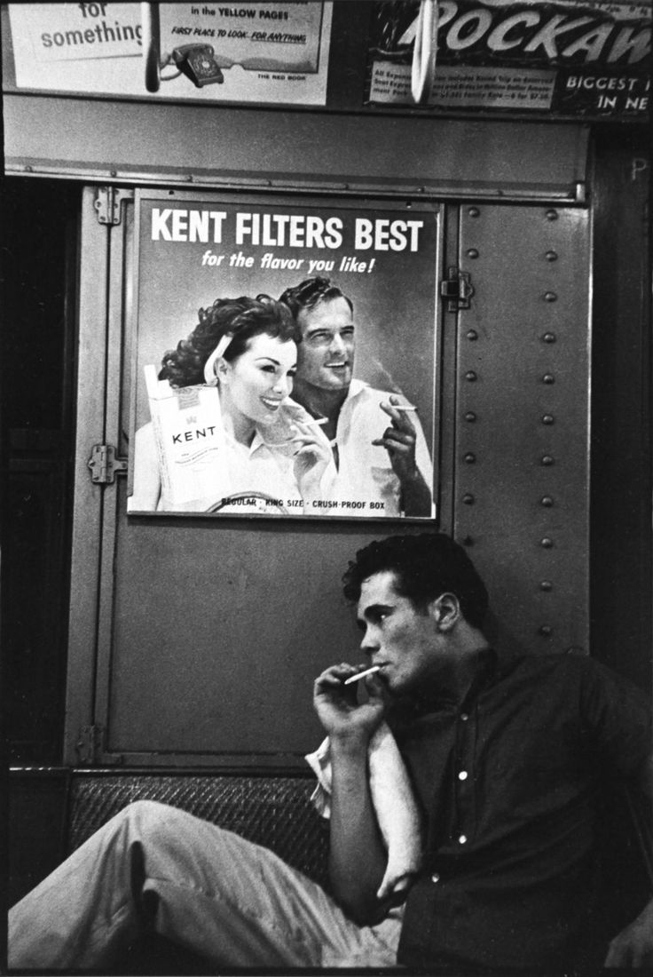 NYC. Smoking on the subway. Brooklyn, 1959. Times change! // Bruce Davidson