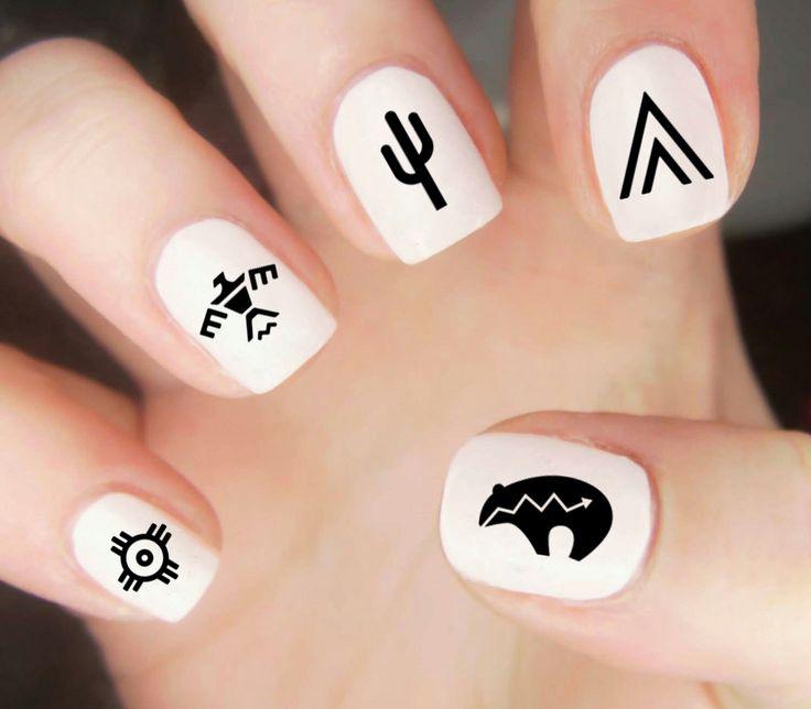 #Southwestern nail art, #cactus nail art, #Native American nail art