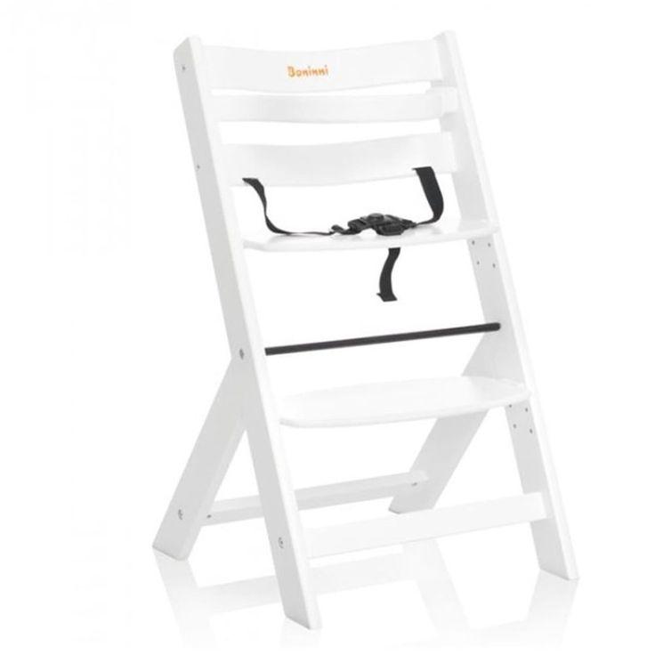 Adjustable Baby High Chair Infant Seat Child Toddler Safety Harness White Wooden #AdjustableBabyHighChair