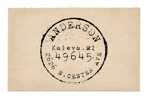 Custom Address Stamp, Round Return Address Stamp, Antique Postage, Wedding Rubber Stamp, Pre-inked, Kaleva