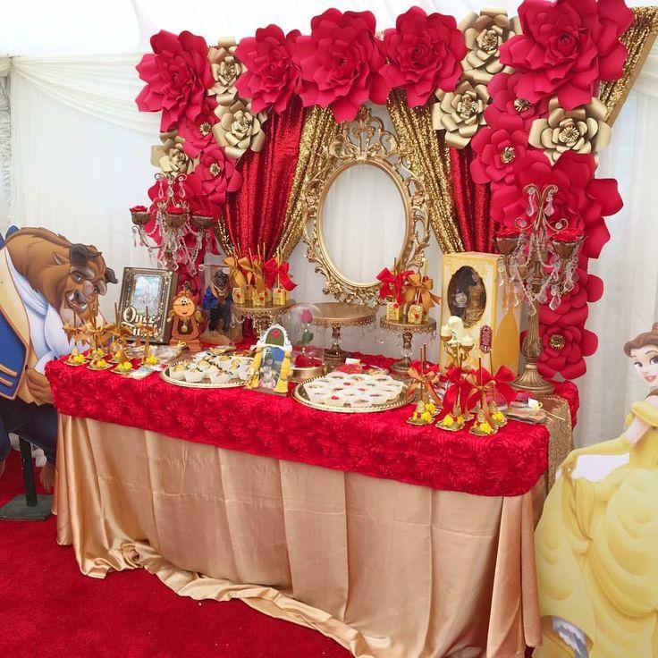Beauty and the beast party idea / La Bella y la Bestia ideas   Found: https://www.facebook.com/alvarezpartyrental/  #beautyandthebeast #Partyideas #candybar