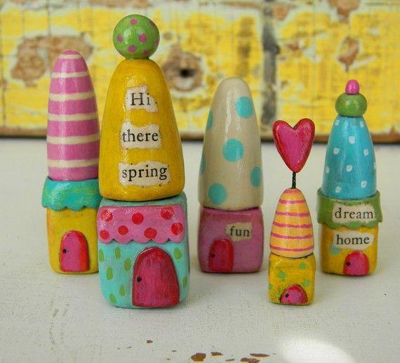 spring village - polymer clay!