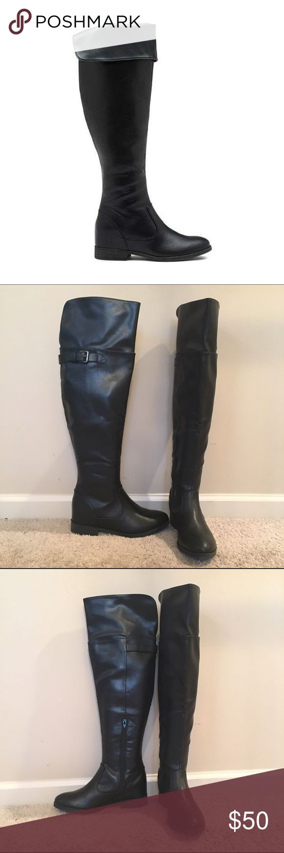 Black Over The Knee Boots Brand new in box. Can be folded or unfolded. With 1-inch heel. No flaws, just too tall for me since i'm 5' tall. Bass Shoes Over the Knee Boots