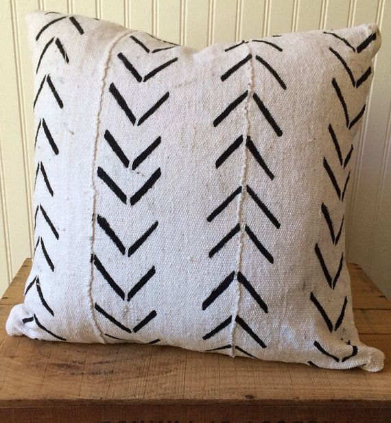 20 Inch White African Mud Cloth Pillow Cover by OneFineNest