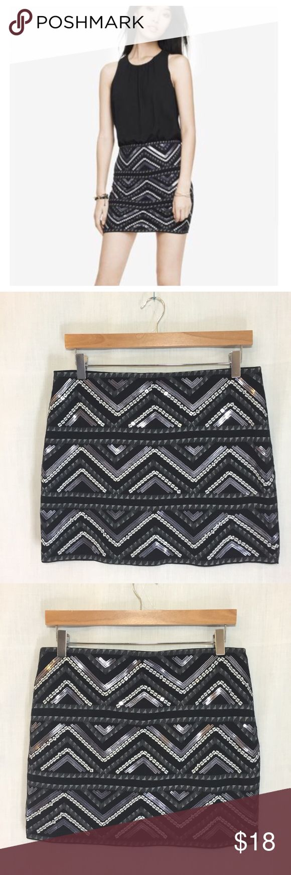 Express Sequin Mini Skirt Black Silver Geometric M Express Sequin Mini Skirt Black Silver Geometric EUC  Sz M Lined Elastic waist 60/40 Cotton/modal Excellent preloved condition  Measured flat 15.5 inch waist  18.5 inch hips  15 inch length Express Skirts Mini