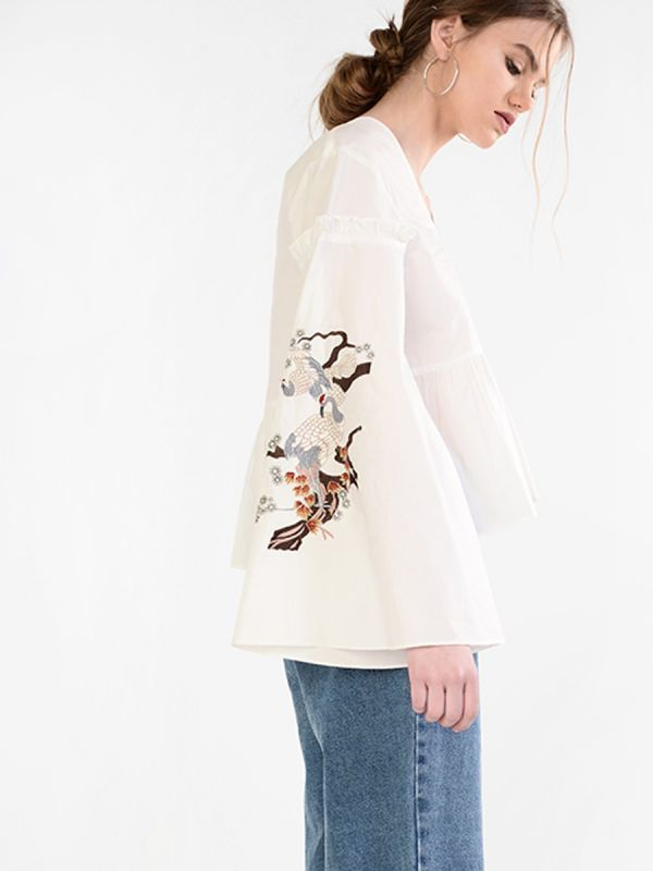 Embroidered flared sleeve blouse