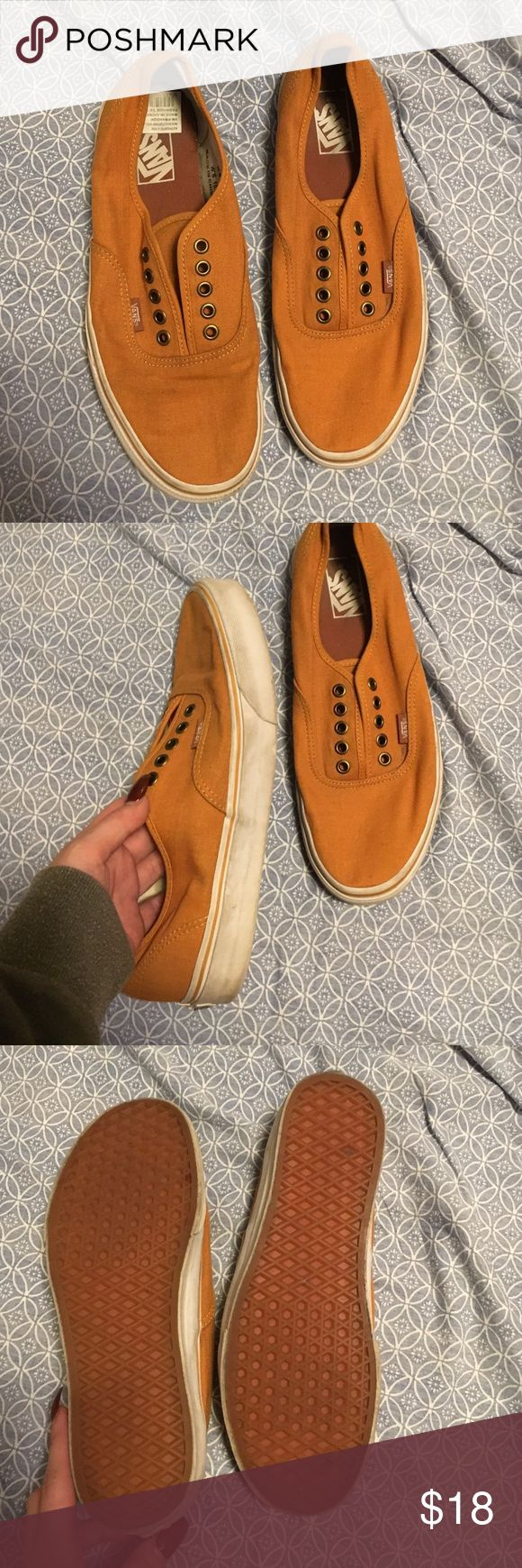 Rust orange vans men's 9 I think my boyfriend wore them maybe twice outside then they just sat in the closet. Only a few scuffs but they can be washed off and I'll do my best to wash them before shipping. Vans Shoes Sneakers