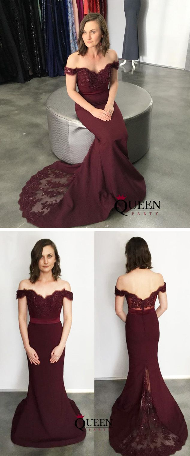 Burgundy Lace Appliques Off-the-shoulder Mermaid Formal Gown With Sweep Lace Train