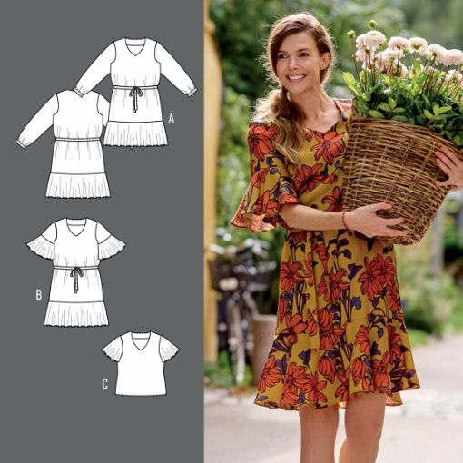 067f0cf3 Kjole og bluse med flæser - STOFF & STIL   sy-selv tøj   Pattern, Sewing