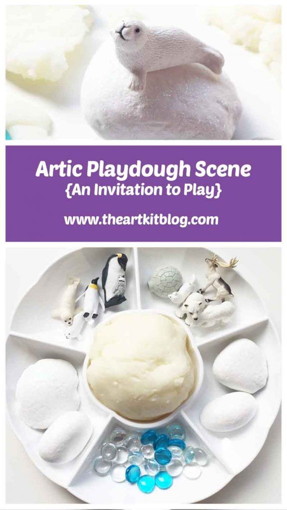 An Artic Themed Invitation to Play with Homemade Snow Playdough from The Art Kit Blog - Don't Forget to Pin for Later