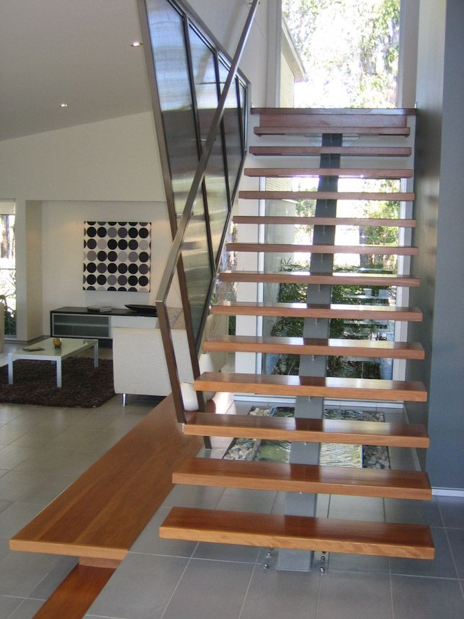 Open Stair Designs See deck railing at http://awoodrailing.com