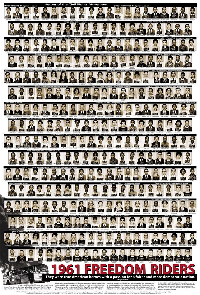 1961 Freedom Riders - The only time I wanted to run away from home was to join them. I was 5. My attempt was unsuccessful.