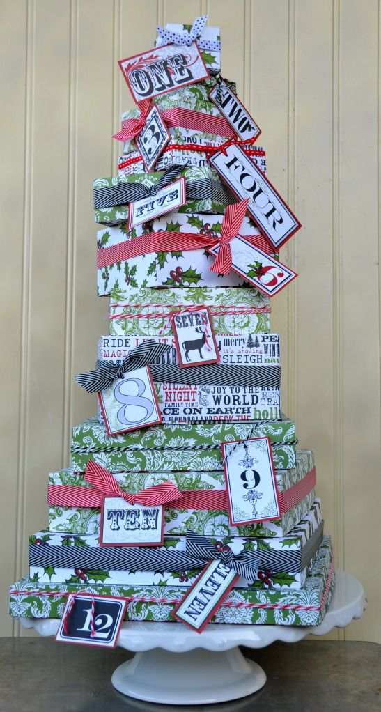 12 Day of Christmas tree - pretty gift wrapped boxes that also serve as a centerpiece