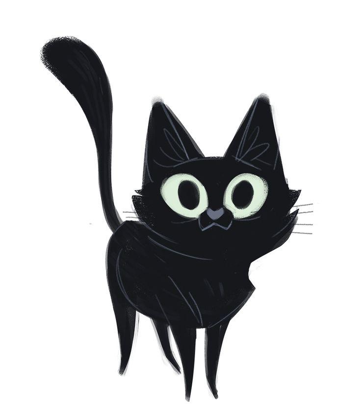 "dailycatdrawings: "" 503: Black Cat My coworker informed me that it is Black Cat Appreciation Day, so here is a cute black kitty sketch :) """