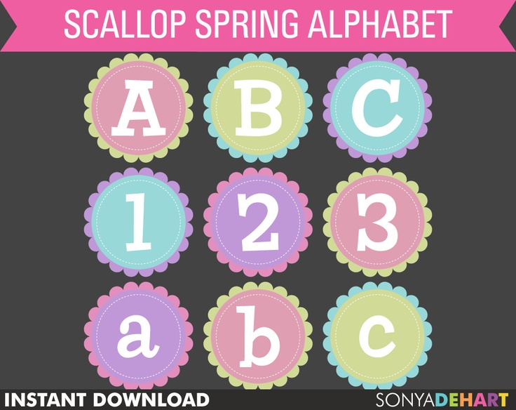 Buy 2 Get 1 FREE Digital Alphabet Scalloped Stitched Circle Spring Easter Baby Clip Art Commercial Use Clipart Instant Download. $3,00, via Etsy.