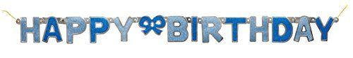 From 1.74 4ft Glitz Blue Happy Birthday Banner