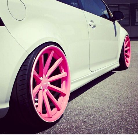 slammed gti on pink wheels