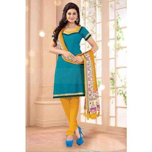 BLUE CHANDERI CHURIDAR SUIT Price - £23.00 #IndianDesignerDresses #FashionUK #CollectionUK #BollywoodFashion #ShopkundUK