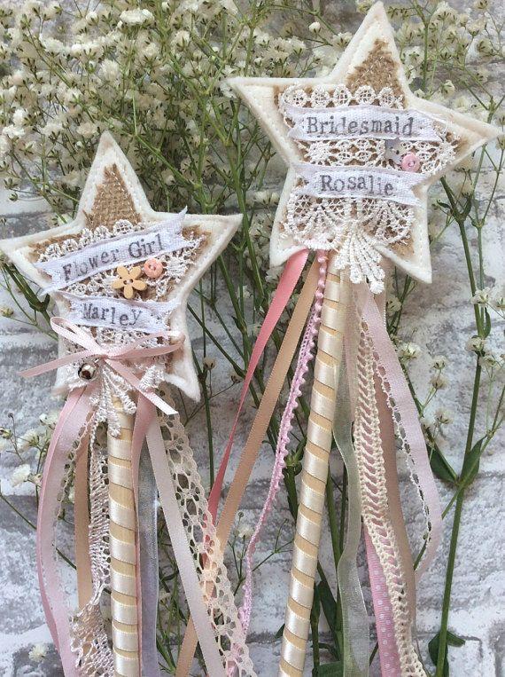 Flower Girl wand vintage lace Handmade by StitchedbySistersuk