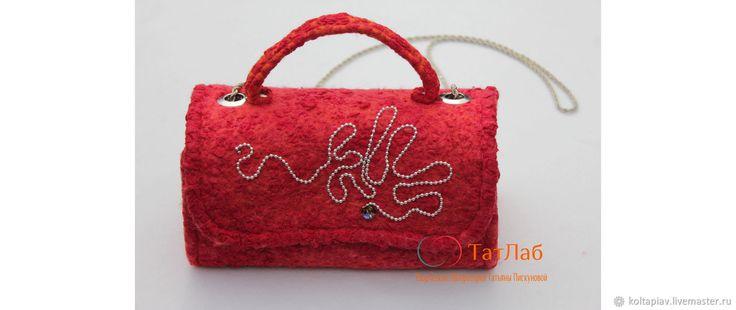 """Купить Валяная маленькая сумочка """"Хот"""" - однотонный, сумочка, сумочка на цепочке, сумочка валяная"""