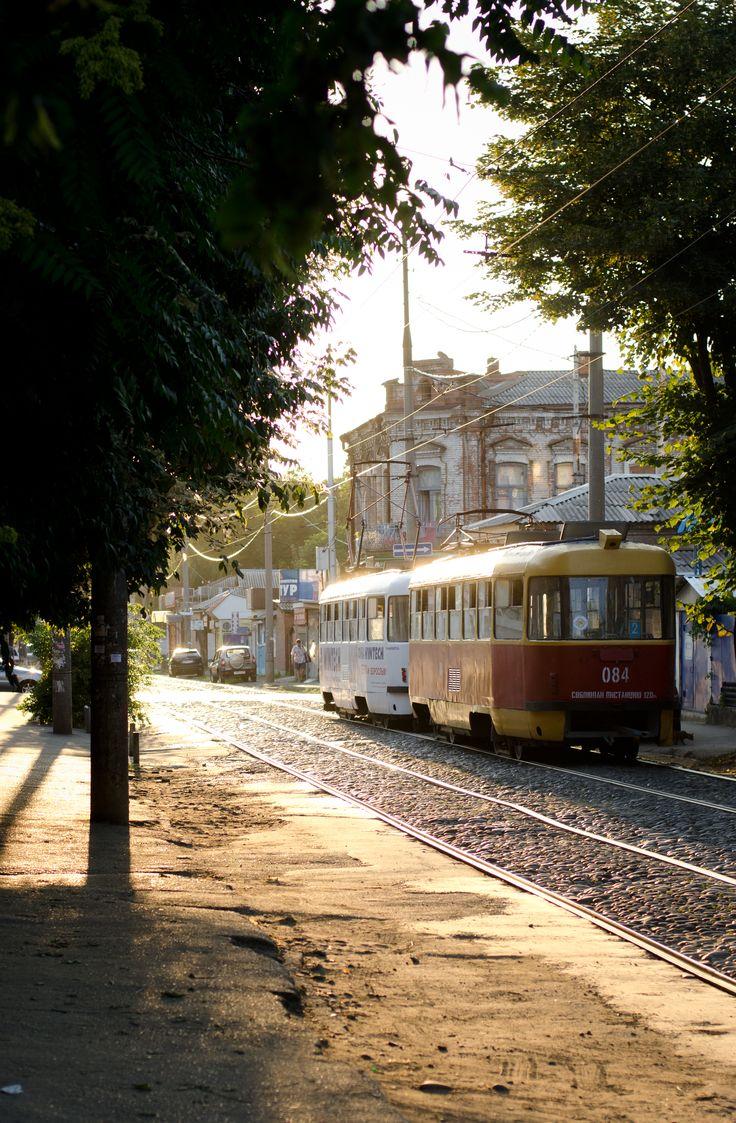 The tram(tramvai in Russian) in Krasnodar Russia.