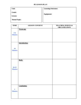 pe lesson plan template printable and more pe lesson plans