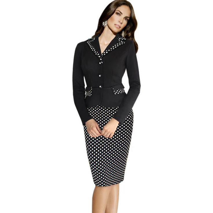 Vintage Plaid Polka Dot Sheath Formal Work Dress