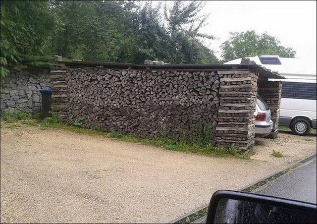 firewood stacking garage