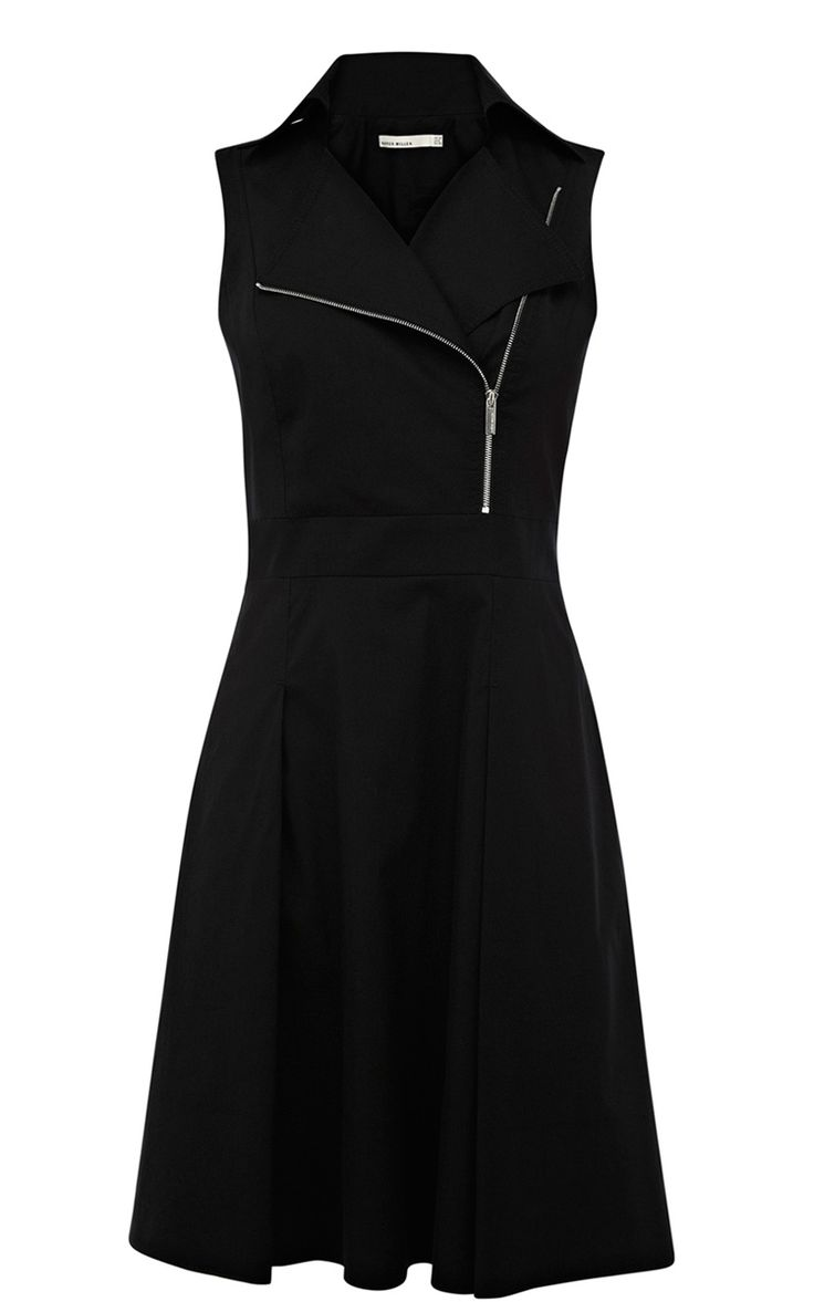 Black Lapel Sleeveless Zipper Dress. Very cute!