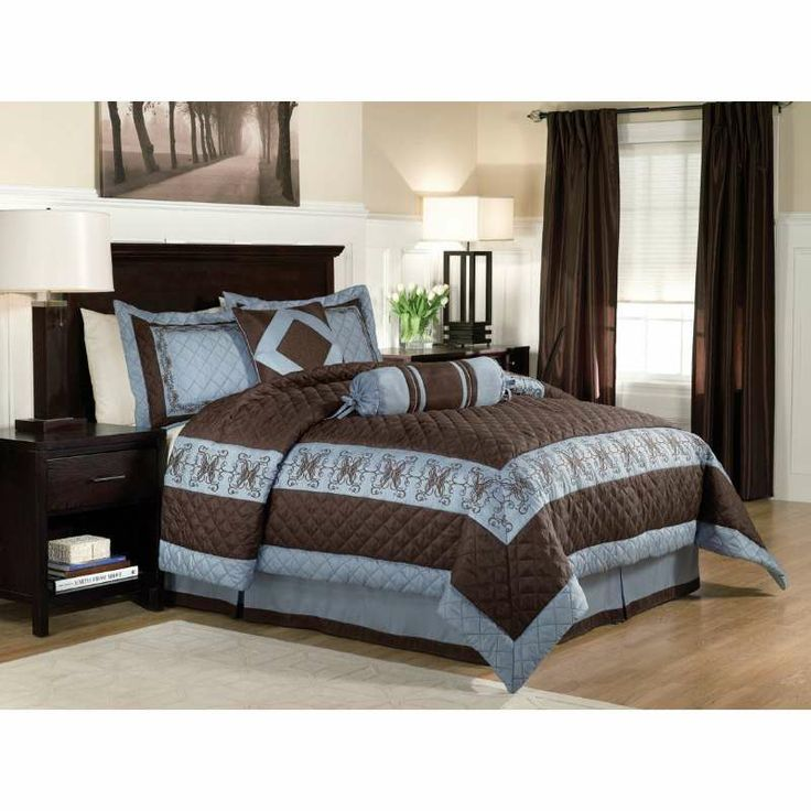 Comforter Sets Blue And Brown Queen Size Lofton Blue
