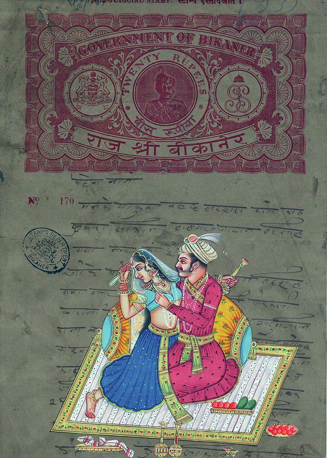 Mughal King India Art of Love Kamsutra Peinture d'aquarelle miniature indienne sur Old Antique Stamp Painting de Ravi Sharma