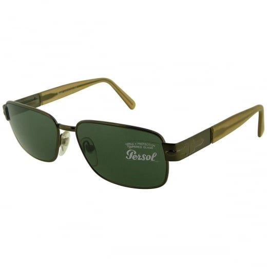 Persol Men's Vintage Brown Rectangular Sunglasses With Green Tinted Lenses. Model Number: 2039-S 601 31. Renowned for their refined sophistication and vintage inspired design, these men's Persol sunglasses come with polished antique brown metal eye frame and acetate arms - an enduring and versatile design, perfect for adding a dash of sophistication to any outfit.