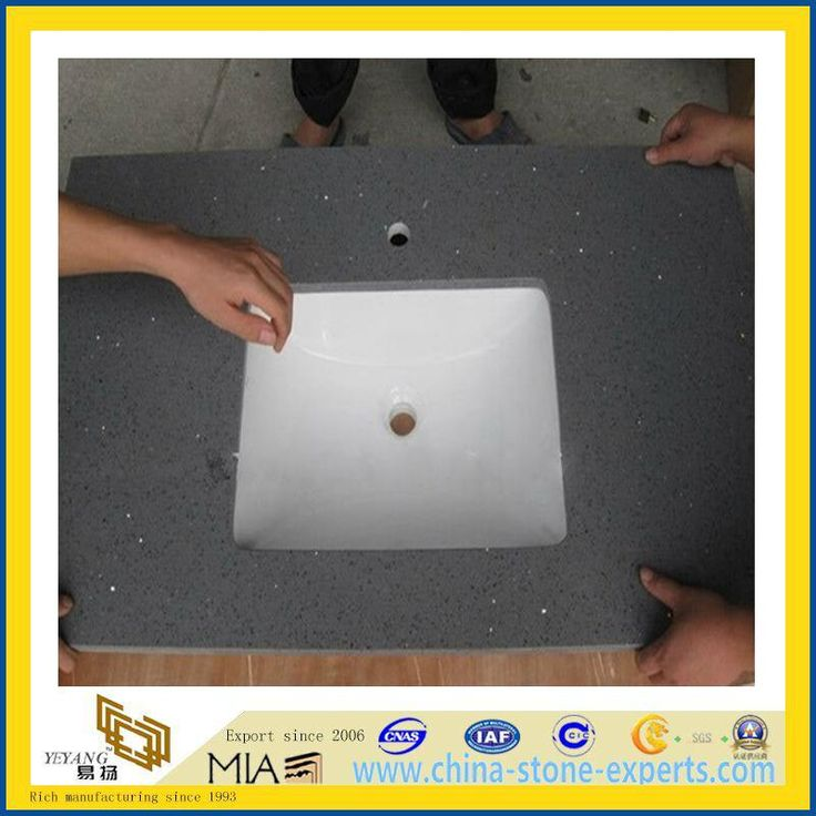 China Dark Grey Artificial Quartz Vanity Tops(YQA-QC1004)
