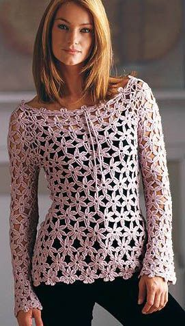 Crochetemoda: May 2011  -  cannot find a pattern for the whole blouse.  Wonder if flowers could just be made individually and joined as you go?
