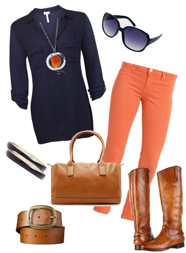 """Oranje jeans met donkerblauw en camel"" by madeliefke on Polyvore"