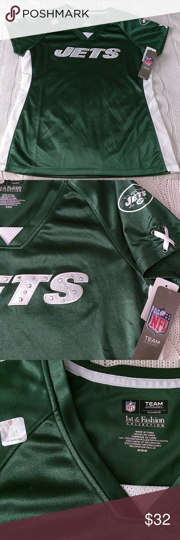 NFL Apparel NY Jets Jersey NFL Apparel New York Jets Women's Draft Me V Shimmer Jersey. Silver studs. Lace up sleeves. V neck. NFL  Team Apparel Tops Tees - Short Sleeve