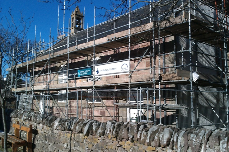 Scaffolding just up in Early February sun