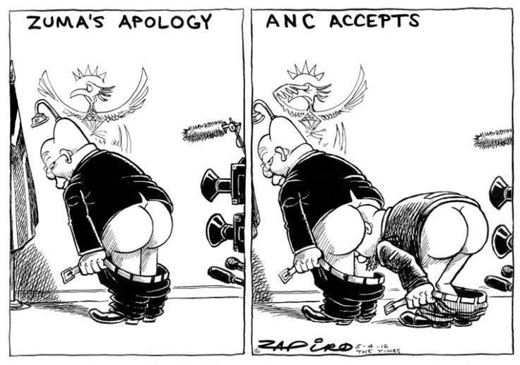 Zapiro on Zuma: Was that an apology or a re-BUTT-al?  Africartoons